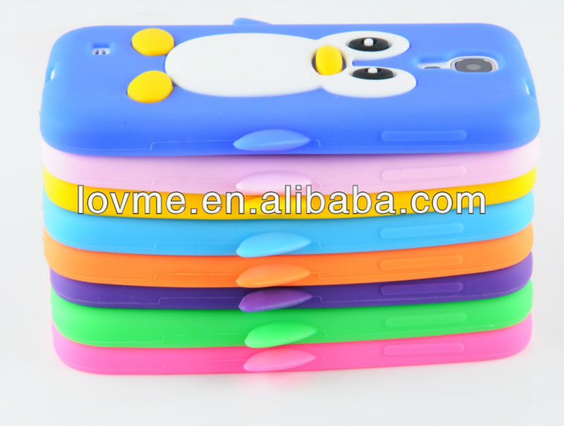 For Samsung Galaxy S4 i9500 i9505 Cute Animal Penguin Silicone Case Cover S 4 S IV SIV