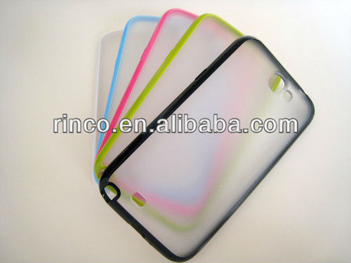 TPU Bumper with clear PC Hard Back Case Cover For Samsung Galaxy Note 2 II N7100 Case