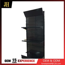 Column connection type metal hanging display rack with wheels and LOGO board