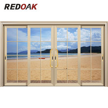 Good appearance modern front main entry doors wood door designs champagne gold aluminum alloy glass sliding door