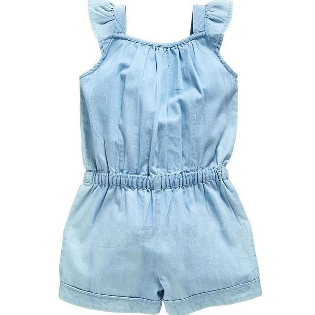 Summer babies romper clothes Baby girls ruffle fly sleeve jeans romper kids Bows wish denim jumpsuit children Bodysuits