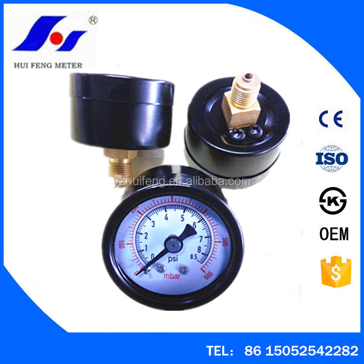 Small Water Mini 40mm Black Steel Dry Air Pressure Gage