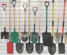 kinds of long wooden handle aluminum steel shovel with D or Y or T shaped wooden handle