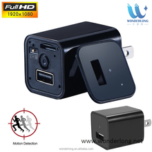 Motion actived invisible lens hd 1080P usb wall charger hidden camera support tf card upto 32gb