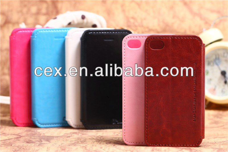 2013 Book Style PC+PU Leather Magnetic Flip Stand Case for iPhone 4 4s
