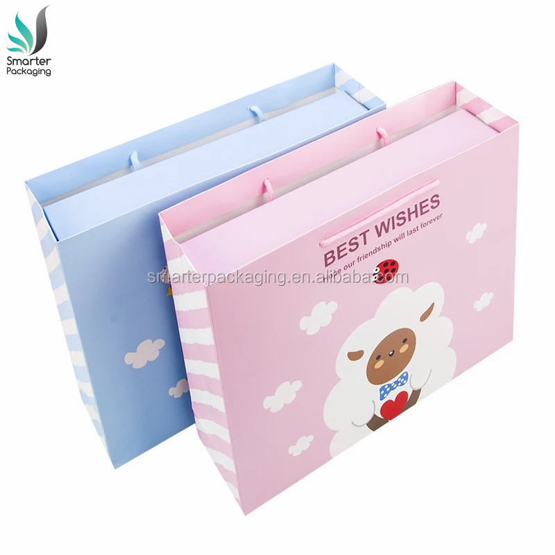 Customized Printed High Quality Luxury Baby Clothing Box Paper Gift Box with Handle