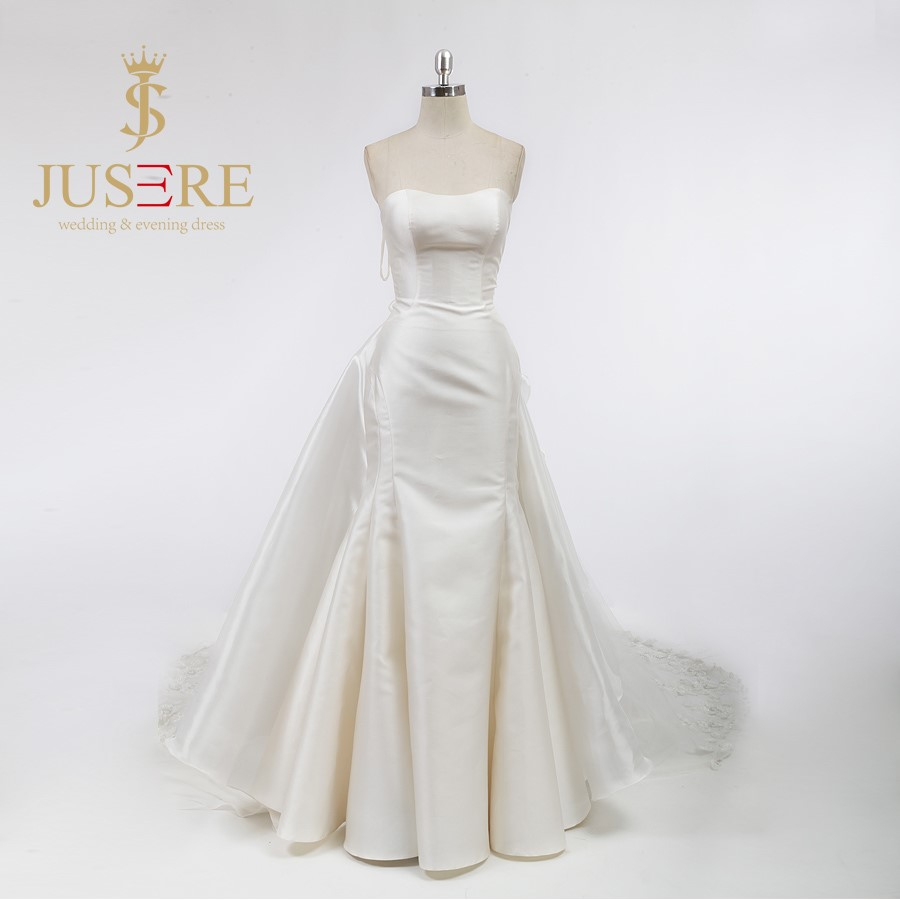 Detachable Train Ivory Satin Wedding Gowns 2016 Strapless Mermaid Bride Dresses