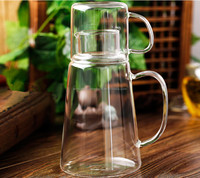 Big volume glass cold/hot water bottle with cup,custom glass water bottle