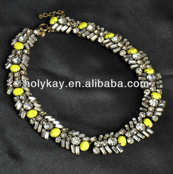 New arrival wedding jewelry,Crystal collar necklace,fluorescence yellow acylic beads necklaces