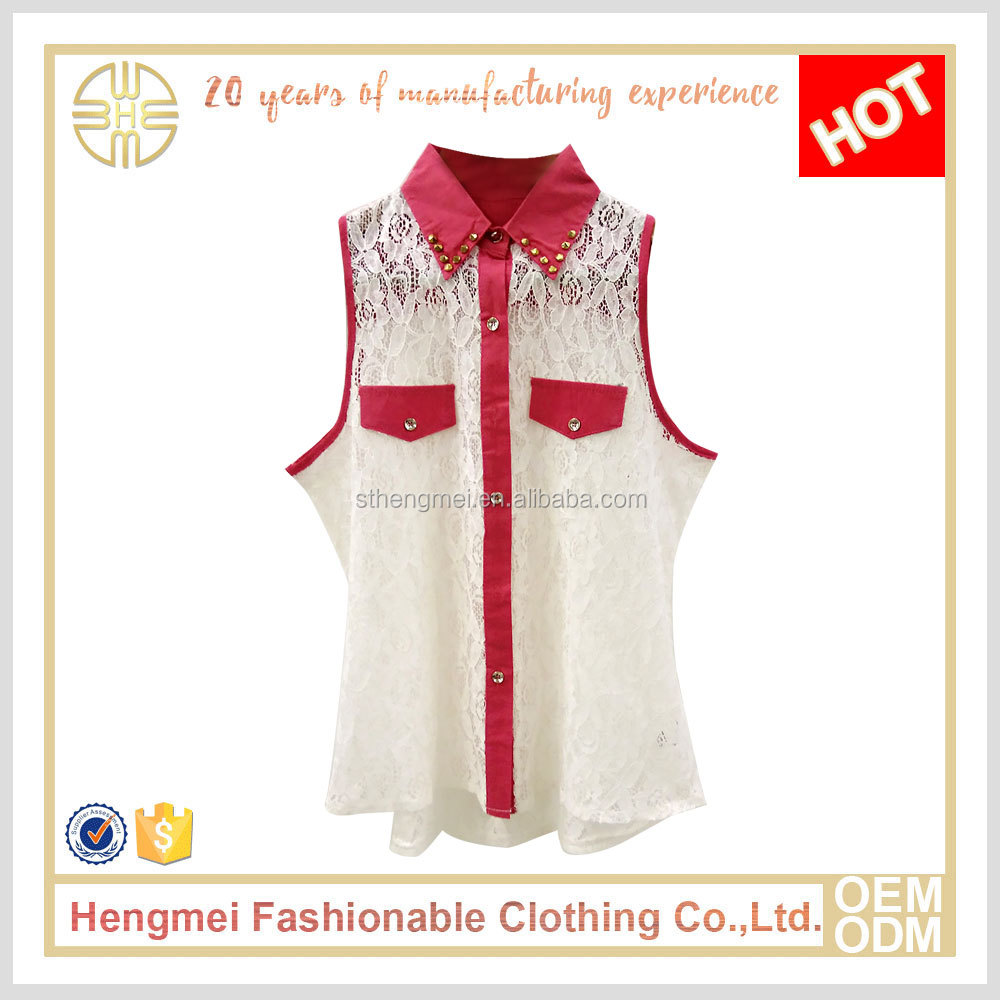 2016 Best selling high quality lace design shirt collar ladies sexy sleeveless blouse