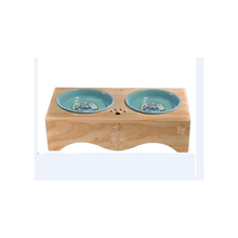 raised dog feeders ceramic two bowls with pet table
