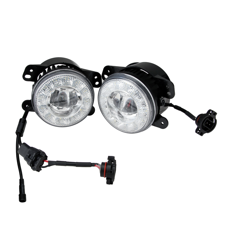 ECE R19, ECE R87 shining shape halo LED fog light 4 inch Round LED DRL light for offroad 4x4 <strong>J</strong>.EEP Wrangler