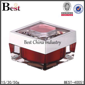 15 30 50g square acrylic crystal cosmetic jar luxury red crystal cosmetic jar for face cream
