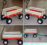 wooden garden trolley 4-wheel hot sale