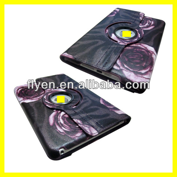 New 360 Rotating Smart Cover PU Leather Sleep Wake Case For iPad Mini the rose pattern