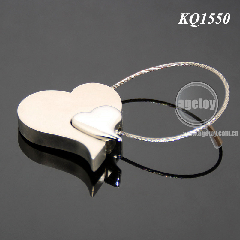 Wedding Souvenirs Hearts Shaped Steel Wire Metal Key Chain
