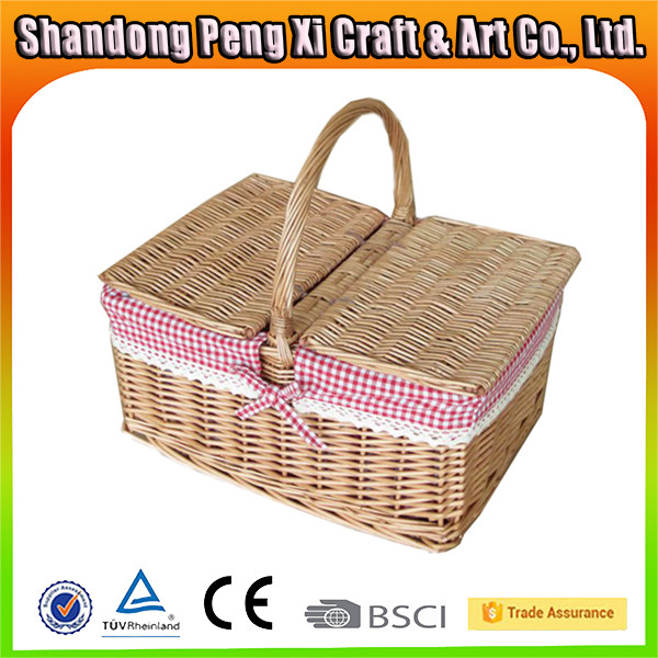 Wholesale bulk wicker picnic basket with fabric and lid
