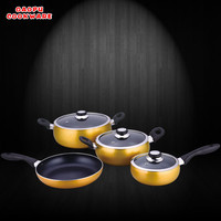 7pcs induction or sprial bottom aluminum golden color nonstick cookware sets