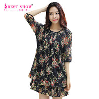 Summer Dresses For Women 2015 New Fashion Casual Lace Dress Pleated Floral Print Dress Thailand Fat Woman Loose Clothes 1684
