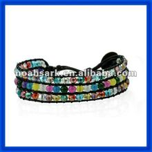 new 2014 Make Leather Wrap Beaded Bracelets TPCL102#