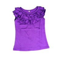 Wholesale children cotton soft ruffle tank tops baby girls loose sleeveless shirts