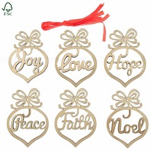 Wholesale custom wooden crafts cheap plywood Christmas tree hanging ornaments