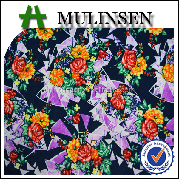 Mulinsen Textile Knit Printed Polyester Spandex 4 Way Lycra Stock Lot Fabric