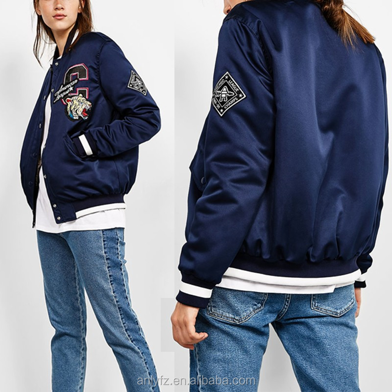 Women clothes wholesale 100% cotton sateen custom embroidered winter bomber jacket