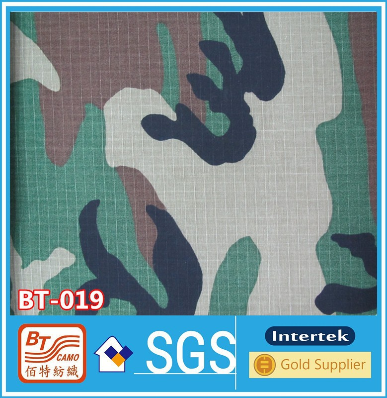 Ripstop 100% polyester military camo waterproof fabric