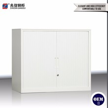 White tambour sliding doors 2 shelves file storage cabinet
