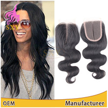 DHL/UPS Fast Shipping Middle/Three/Free Styling Part Lace Closure with baby hair cheap Malaysian body wave soft virgin hair
