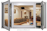 White oak color aluminium alloy frame 5star hotel aluminium windows sound insulation aluminium casement windows