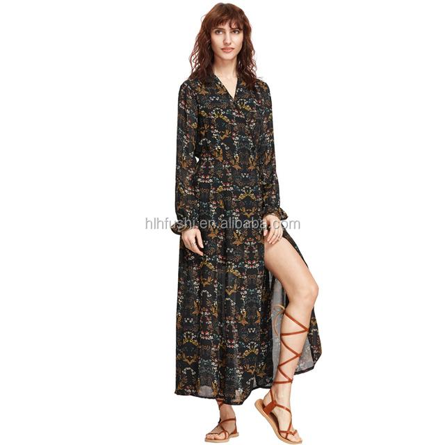 Summer Women's Vintage Floral Printed Split flower Maxi Long Sleeve Dress