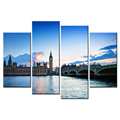 The Thames River Scenery Canvas Printing Picture The Big Ben Giclee Artwork Decorative Canvas Prints for Home and Office 4-Panel