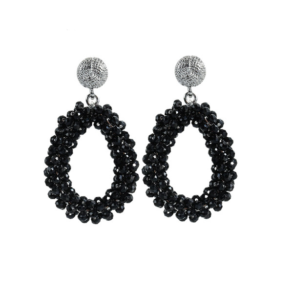 New Fashion Quartz Crystal Earrings Ear Studs Drop Silver Tone Black W/ Stoppers 54mm x 31mm