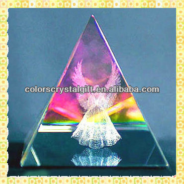 Personalized Pyramid Shape 3D Photo Crystal Laser Engraved Angel For New Year Gifts Items
