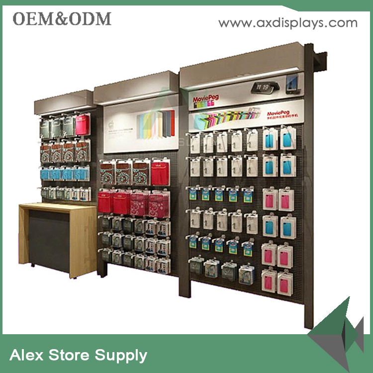 Mobile phone shop furniture cell phone case accessory display wall rack