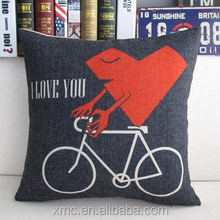 The Nordic style popular home decor bicycle and red heart heat transfer printed novelty cartoon wedding pillows wholesale