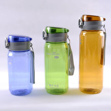 BPA free plastic sports water bottle, big flow lid with finger holder travel 800ml with sucker