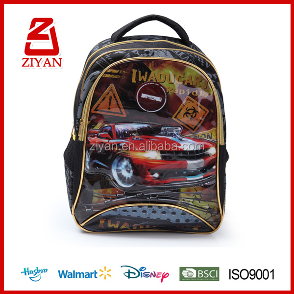 Alibaba China supplier kids cool racing cars cartoon school bags for boys