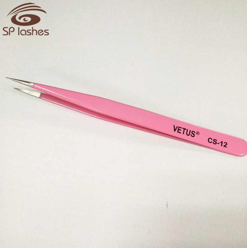 CS-12 pink tweezer, volume fans false eyelashes use