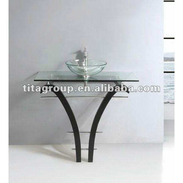Lavabo de cristal claro maquetas con base de acero - Lavabo de acero inoxidable ...