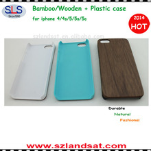 Factory Direct Sales hot sale wooden backing cover with plastic case for iphone 5c/5s/5 IPC339C