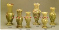 GREEN ONYX BOOKEND, PEDESTAL, COLUMN, VASES, ASHTRY, HEART, GOBLET, CUPS, GALSS, BOWLS