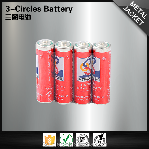 China 3-CIRCLES safety dry cell 1.5v R6p aa size carbon zinc battery