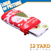 Santa Claus printed mobile phone bag cellphone accessories pocket