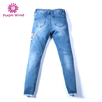 Modern design best price embroideried stretch skinny jean
