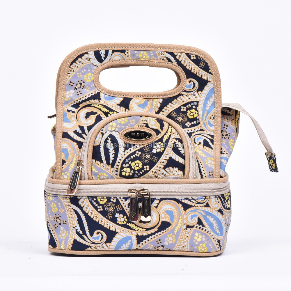 Hot seller Multi-layer solid handle bag with mirror