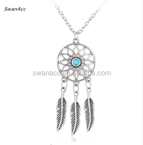 Fashion Vintage Indian Silver Color Bohemian Dream Catcher Necklace For Women