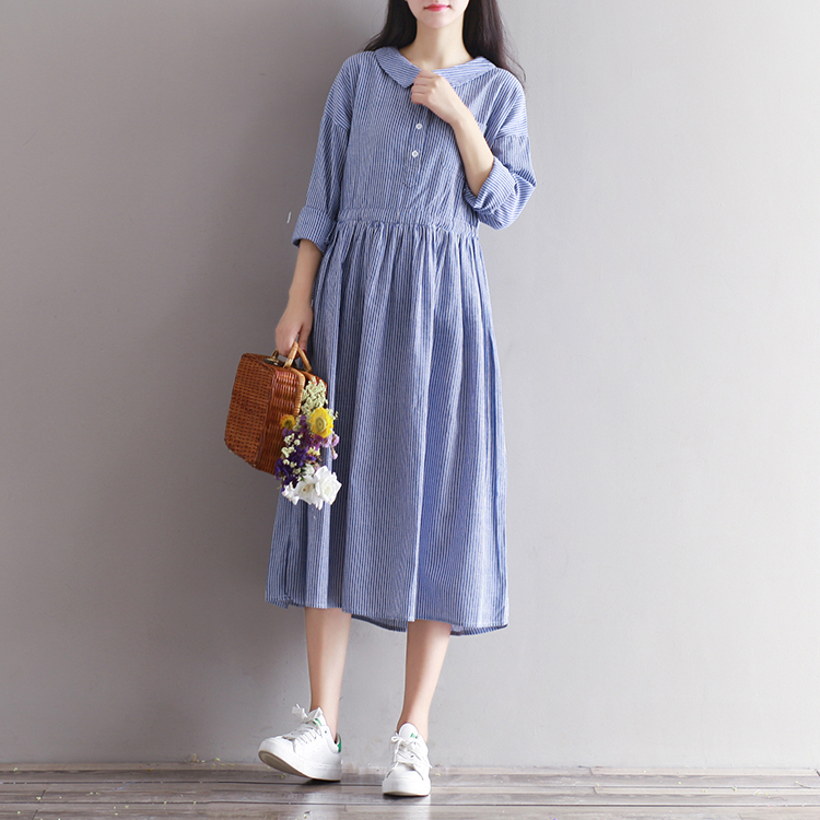 OEM Wholesale Maxi Dresses Plus Size Long Sleeve Linen Striped Dresses